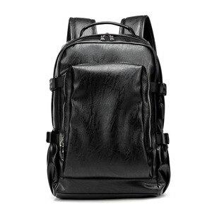 Image 5 - حقيبة ظهر للسفر من جلد البولي يوريثان مقاس 14 بوصة لحمل الكمبيوتر المحمول المحمول حقيبة ظهر بسعة كبيرة للرجال والنساء حقائب غير رسمية
