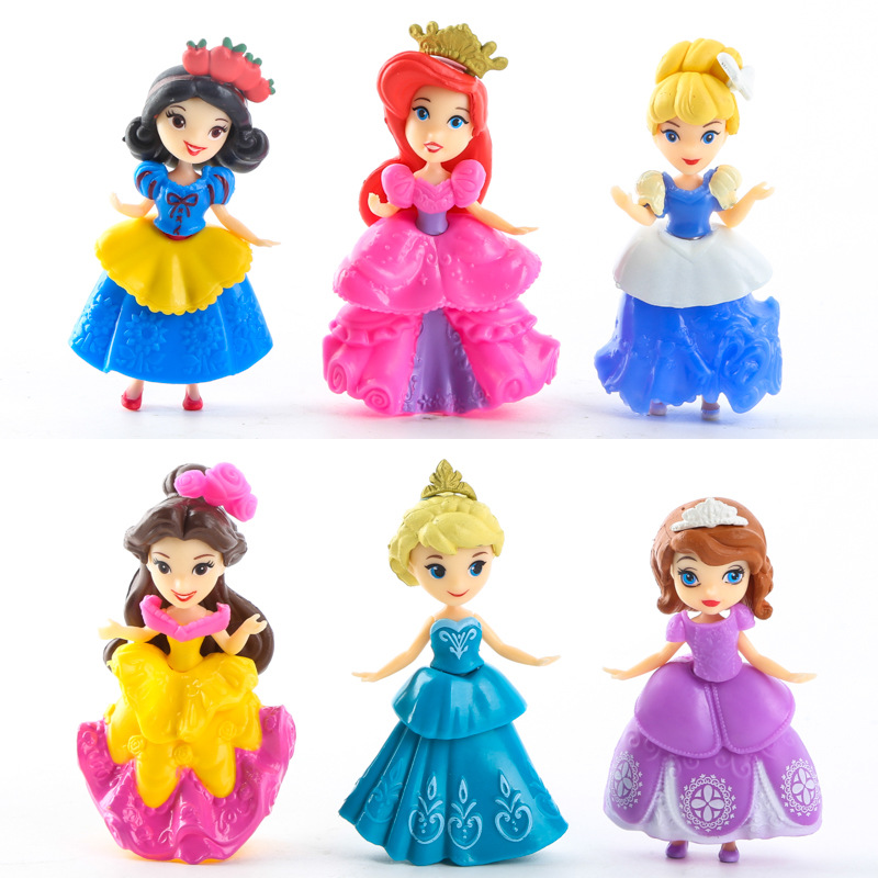6pcs set 9CM Elsa Snow Queen Sofia Cinderella Belle Ariel Statue Dolls PVC Action Figures Disny