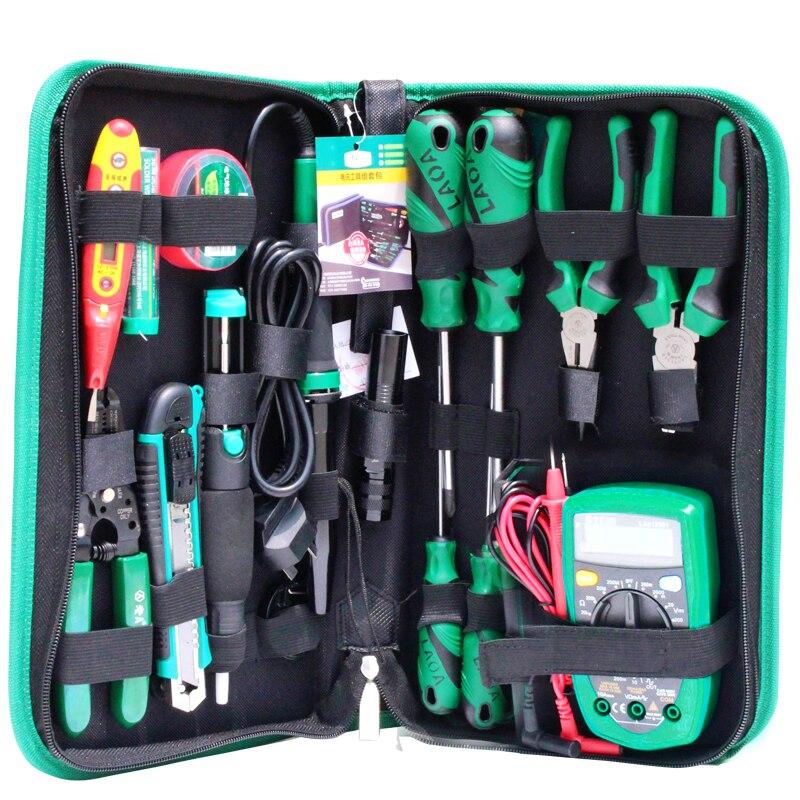 LAOA 16 pièces ensemble de Maintenance électronique d'outils pince à fer à souder pince à épiler électronique numérique multimètre Kit d'outils de réparation - 3