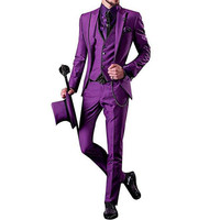 Handsome Purple Formal Wedding Groom men suit Tuxedo 2018 Peaked Lapel Three Piece Custom Made Mens Suits (Jacket+Pants+Vest)