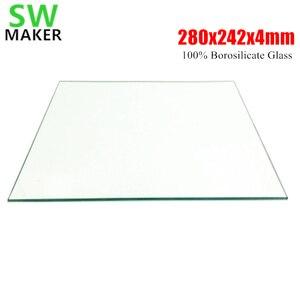 Placa de vidrio de borosilicato 100% de impresora 3D SWMAKER 280x242x4mm para DIY Flyingbear P905X placa de construcción 3D
