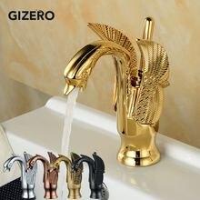 זהב ברבור ברז אמבטיה יוקרה אירופאי סגנון גילוף יהירות כיור מיקסר ברזי סיפון רכוב torneira banheiro ZR475