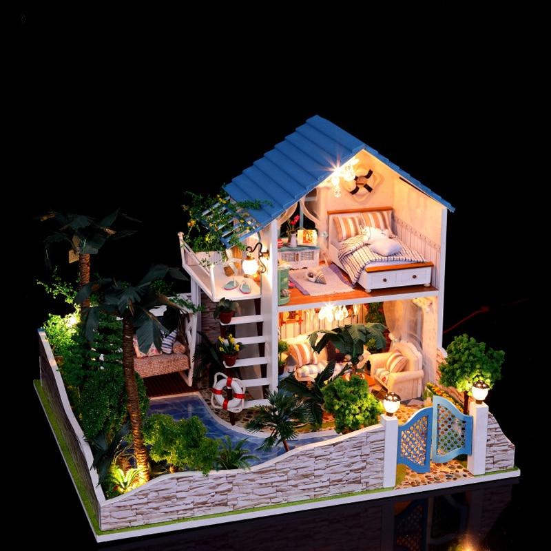Doll House Miniature DIY Dollhouse With Furnitures Romantic Full Of Star Handmade Wooden House Toys 13832 #E wooden handmade dollhouse miniature diy kit caravan