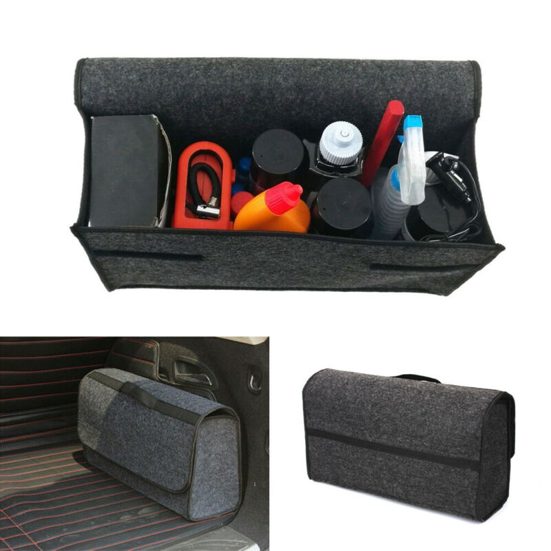 Brand New Car Soft Felt Storage Box Trunk Bag Vehicle Tool Box Multi-use Tools Organizer Bag Carpet Folding for emergency Box(China)