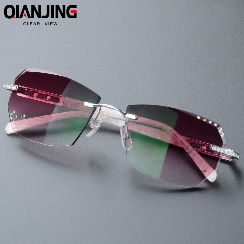 2018 Summer style fashionable trimming rimless women s Complete prescription sunglasses with Rhinestones on lenses Gold