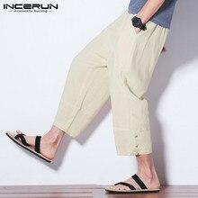 INCERUN Men Harem Pants Cotton Casual Joggers Wide Leg Trousers Men Loose Pockets Drawstring Calf-length Pantalon Hombre S-5XL