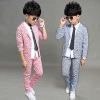 Boys Suits 2018 Spring Autumn New Style Children Kids Wedding Clothes 2 Pieces Sets Pink Grey Blue Fashion Outfits