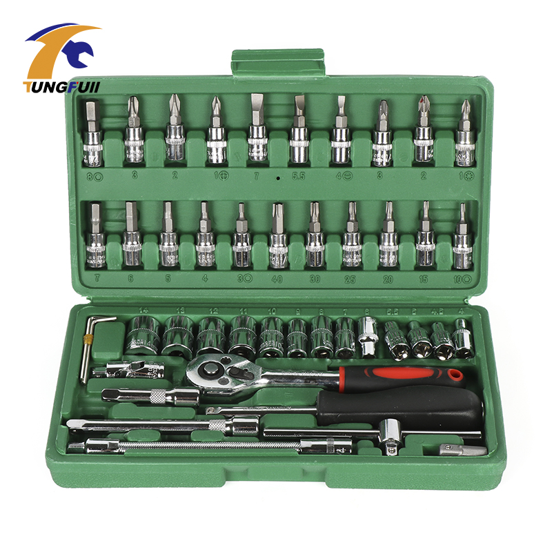 TUNGFULL 46pc Spanner Socket Set 1/4 Car Repair Tool Ratchet Wrench Set Cr-V Hand Tools Combination Bit Set Tool Kit mainpoint 1 4 1 2 3 8 e socket sockets set cr v torx star bit combination drive socket nuts set for auto car repair hand tool