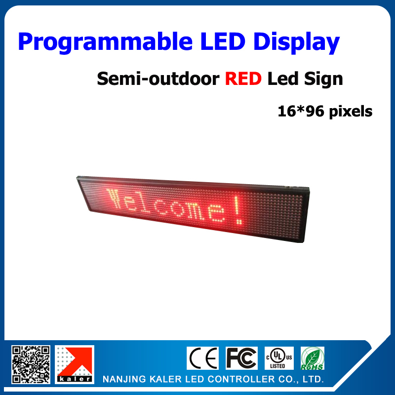 Free Shipping Semi-outdoor LED Display Red Color Text Moving LED Billboard Advertising LED Display Screen 16*96 Pixels P10mm