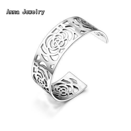 The Most Celebrated Rose Flower Cuff Bangle,Hollow Rose Flower Design Metal Bangle,Perfect for Women Wtist,All Views Will On You Pakistan