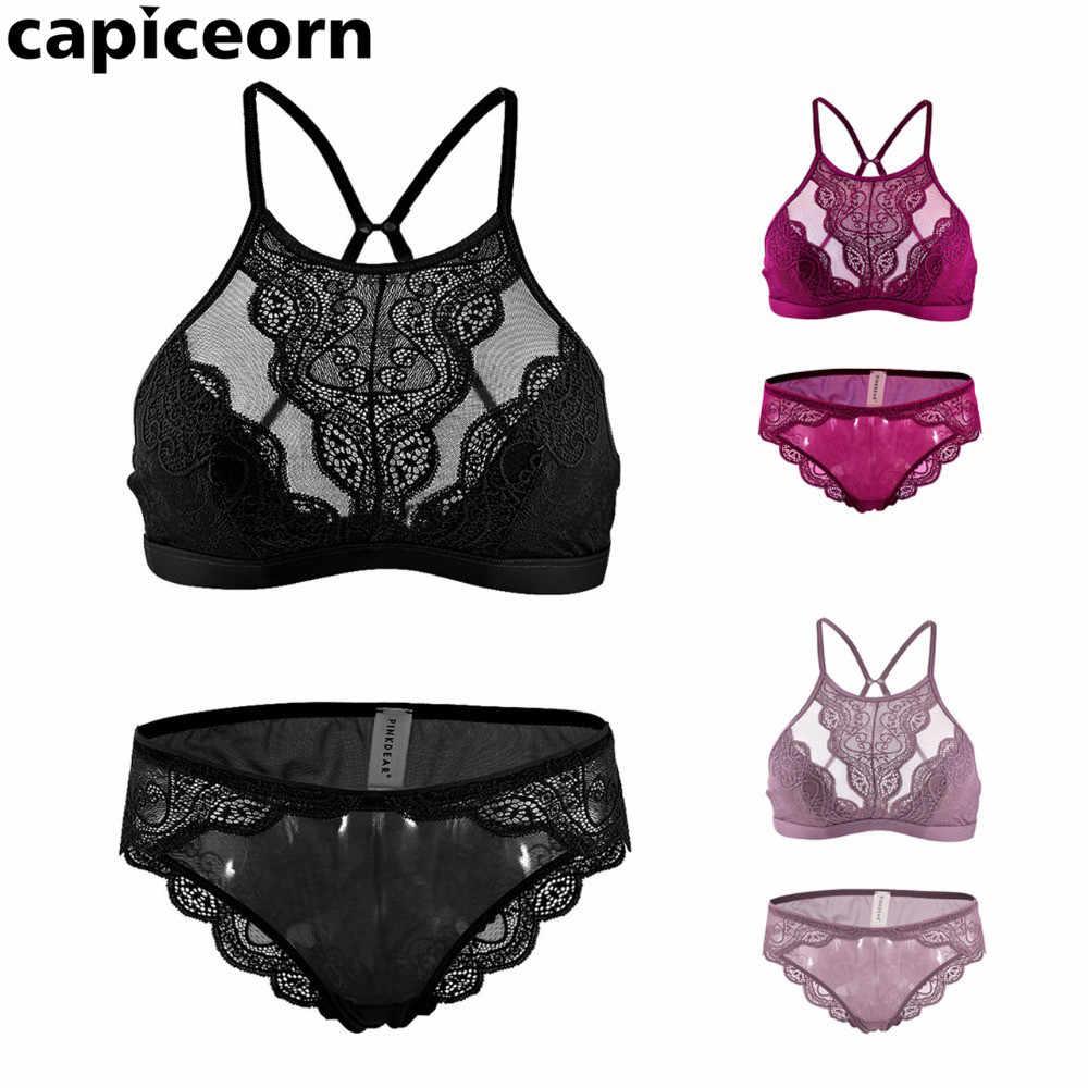 787e1ce861f27 Sexy lace lingerie Full cup Bralette bra brief sets Victoria Underwear thin  cup brassier fashion underwear