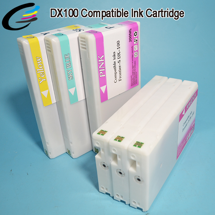 200ML Full Ink Cartridge Kit DX100 Fuji Printer Cartridges with Additional Chip 6PCS