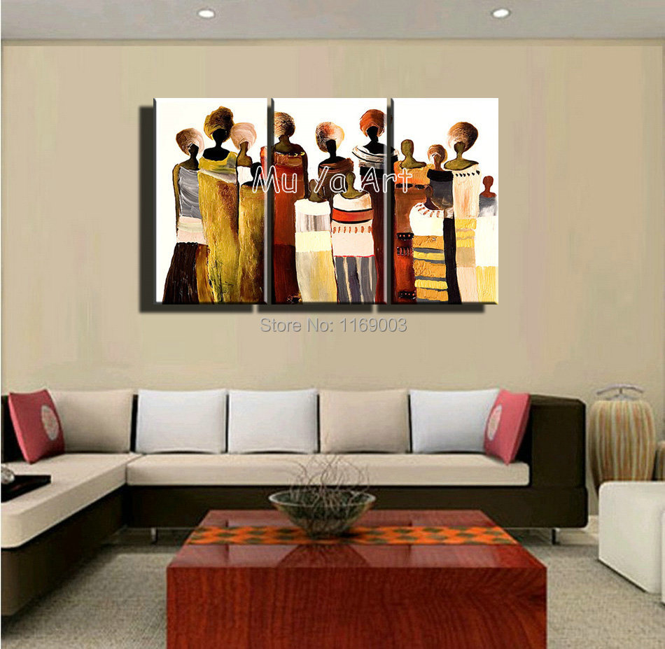 3 Panel Canvas Wall Art Hand Painted Abstract Sexy African