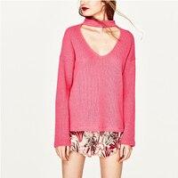 Sexy V Neck Pullovers Women S Autumn Winter Fashion Designer Sweater 2017 Raglan Sleeve Pink Beige