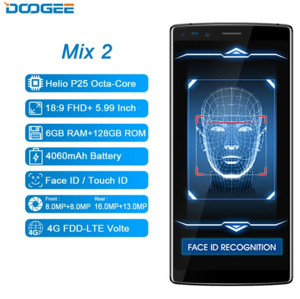 DOOGEE de Mélange 2 6 gb 128 gb Helio P25 Octa-Core 4g LTE SmartPhone 5.99 FHD + plein Écran 16MP + 8MP Quatre Caméra Android 7.0 D'empreintes Digitales