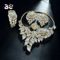 Be 8 New Arrival Wedding Gold Color AAA Cubic Zirconia Jewelry Set Leaf Shape Necklace Earrings Sets for Women Bangle Ring S333
