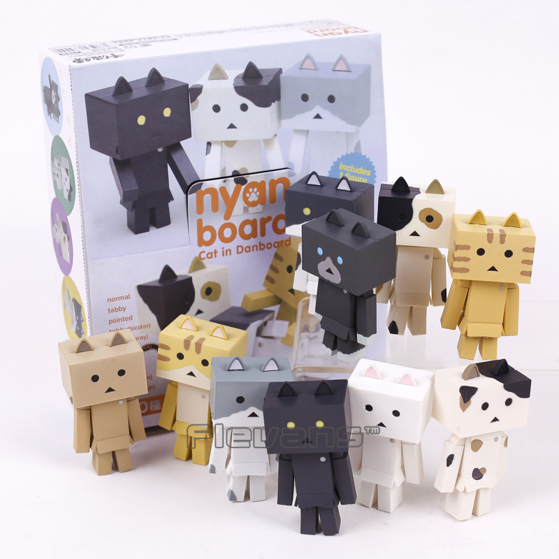 цены Cute nyan board Cat in Danboard Mini PVC Action Figures Collectible Model Toys Gifts 10pcs/set 7cm