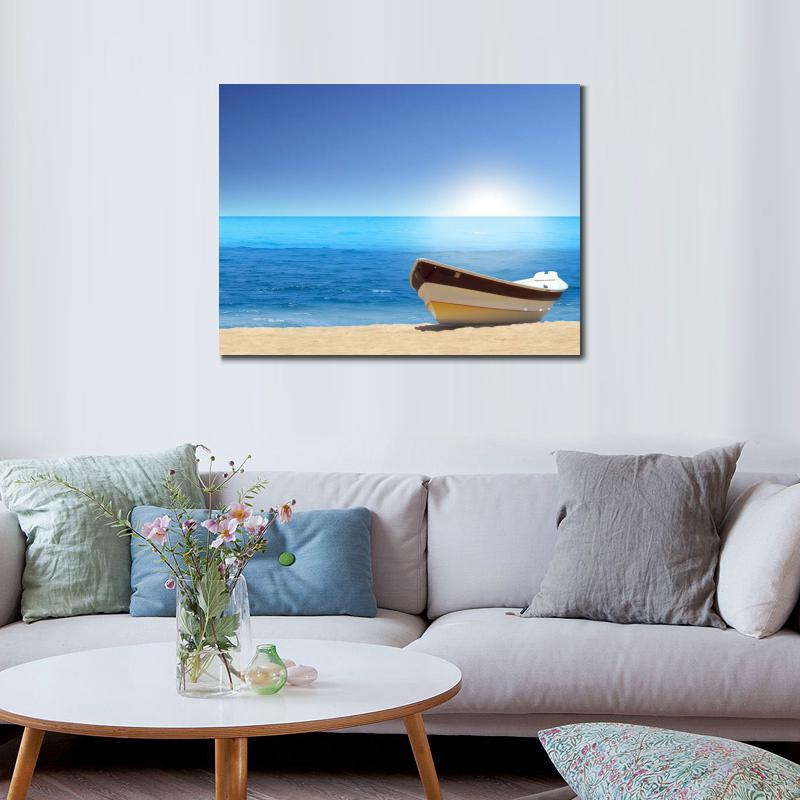 Wall decoration prints canvas piantings Seascapes boat sea beach