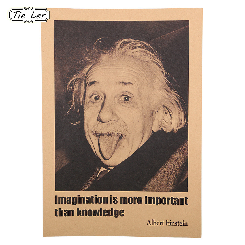 Home & Garden New Fashion Albert Einstein Poster Imagination Is More Important Than Knowledge Wall Sticker Wallpaper Home Bedroom Library Decoration 100% Original Home Decor