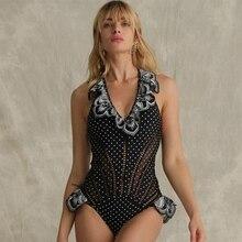 2019 Monokini New Arrival Sexy Bikini Black Backless Swimsuit Patchwork Mesh Slim Women Swimwear Summer Bandage Bathing Suit