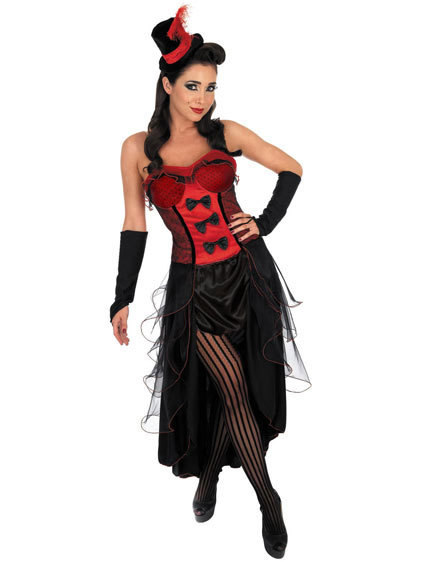 UTMEON  Sexy Black Red Burlesque Babe Dance Showgirl Costume