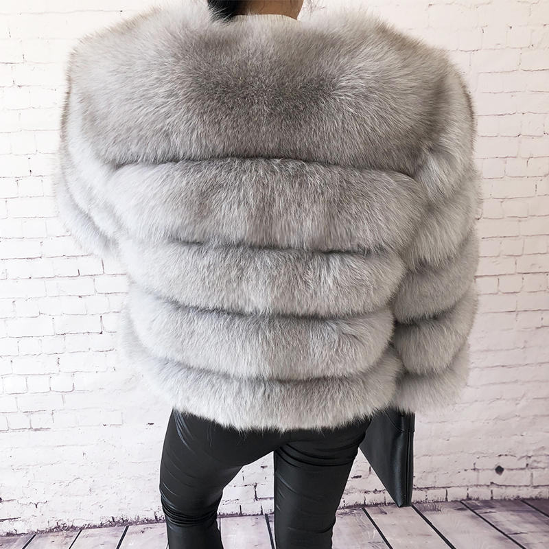 2019 new style real fur coat 100% natural fur jacket female winter warm leather fox fur coat high quality fur vest Free shipping 113