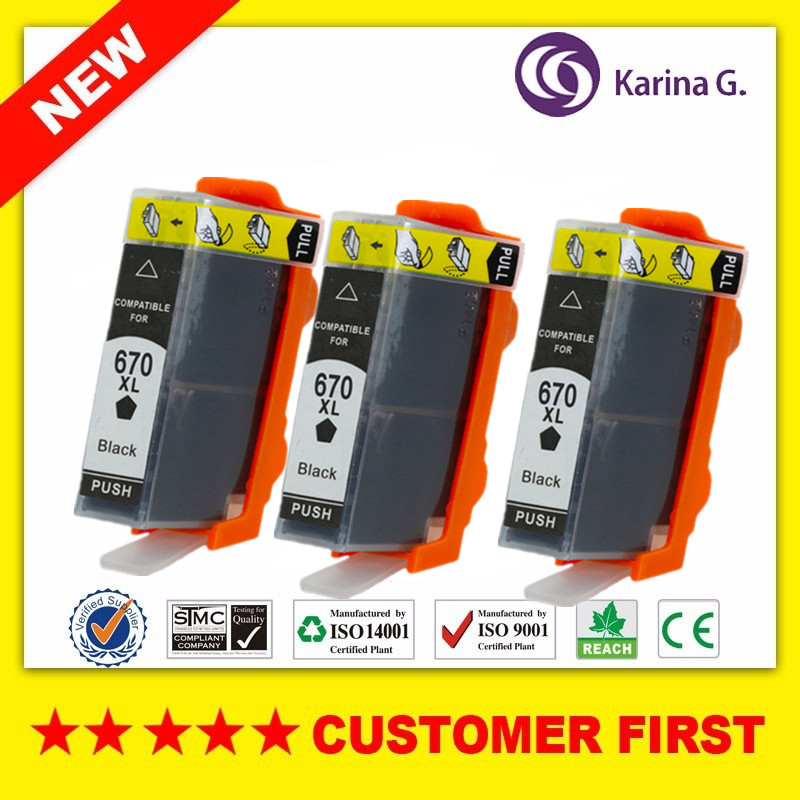 3PCS Black compatible ink cartridge for HP 670 hp670 suit For hp Deskjet Ink Advantage 4620 4625 5525 6526 3525 4615 printer image