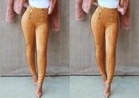 חם סקסי זמש אביב הסתיו גבוהה מותן נשים מכנסיים אופנה מכנסיים סקיני Stretchable עיפרון Bodycon מעוטרים בוטון באורך מלא