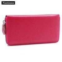 Long Wallet Women Fashion Zipper Clutch Smart Phone Wallet Card Holder Genuine Leather Purse Clutch
