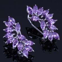 Glittering Ear Shaped Purple Cubic Zirconia 925 Sterling Silver Clip Hoop Huggie Earrings For Women V0892