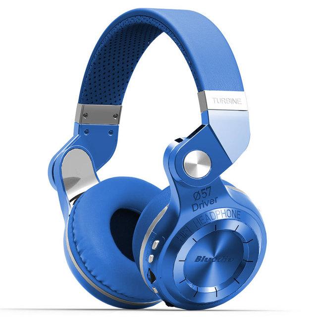 Original bluedio t2 + wireless bluetooth 4.1 estéreo auriculares auriculares auriculares plegable extensible soporte de tarjeta tf fm