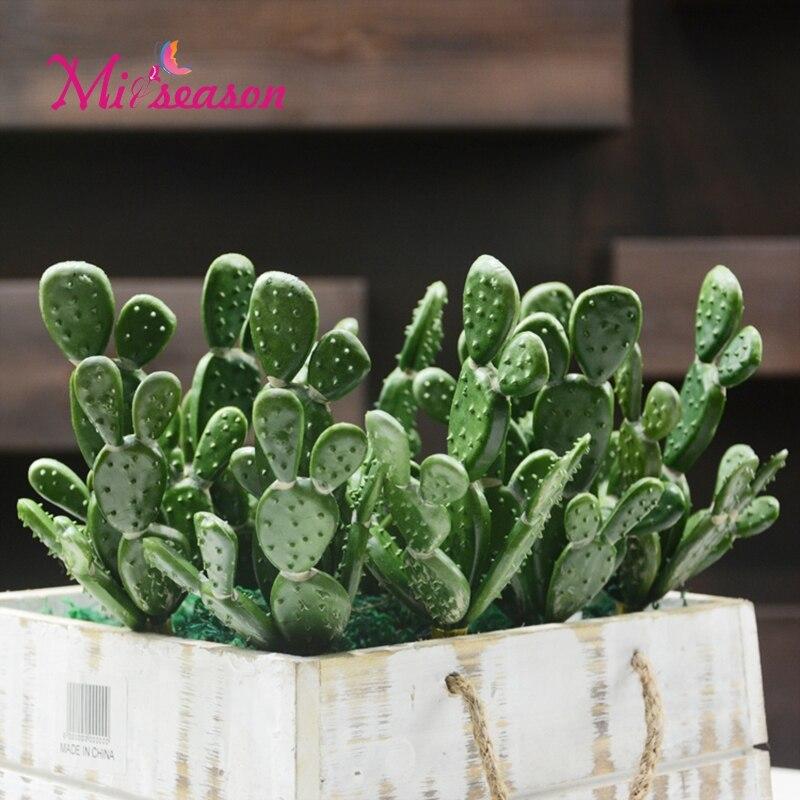 Artificial Cactus Succulents Fake Plastic Opuntia Green Desert Plants Flower Potted Arrangement Home Garden Decoration Plants