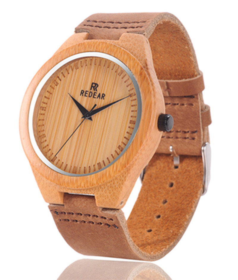 2016 HOT Bamboo Wooden Fashion Men Wristwatch Genuine Leather strap Analog Display Quartz Casual Watch Masculino