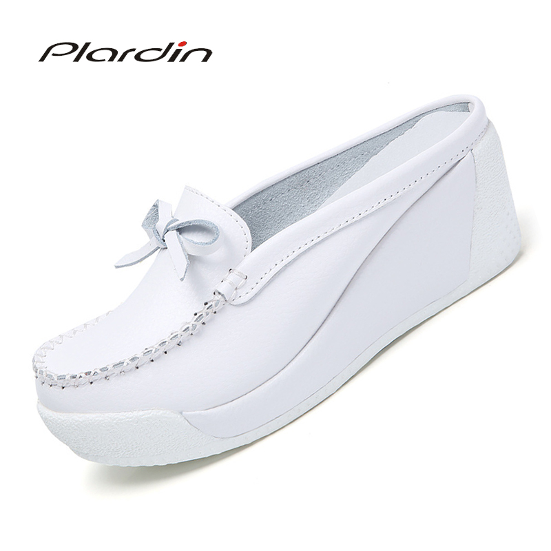 Plardin Nurses Shoes Flats Platform Slipper-Pattern Comfortable Casual Women New Butterfly-Knot