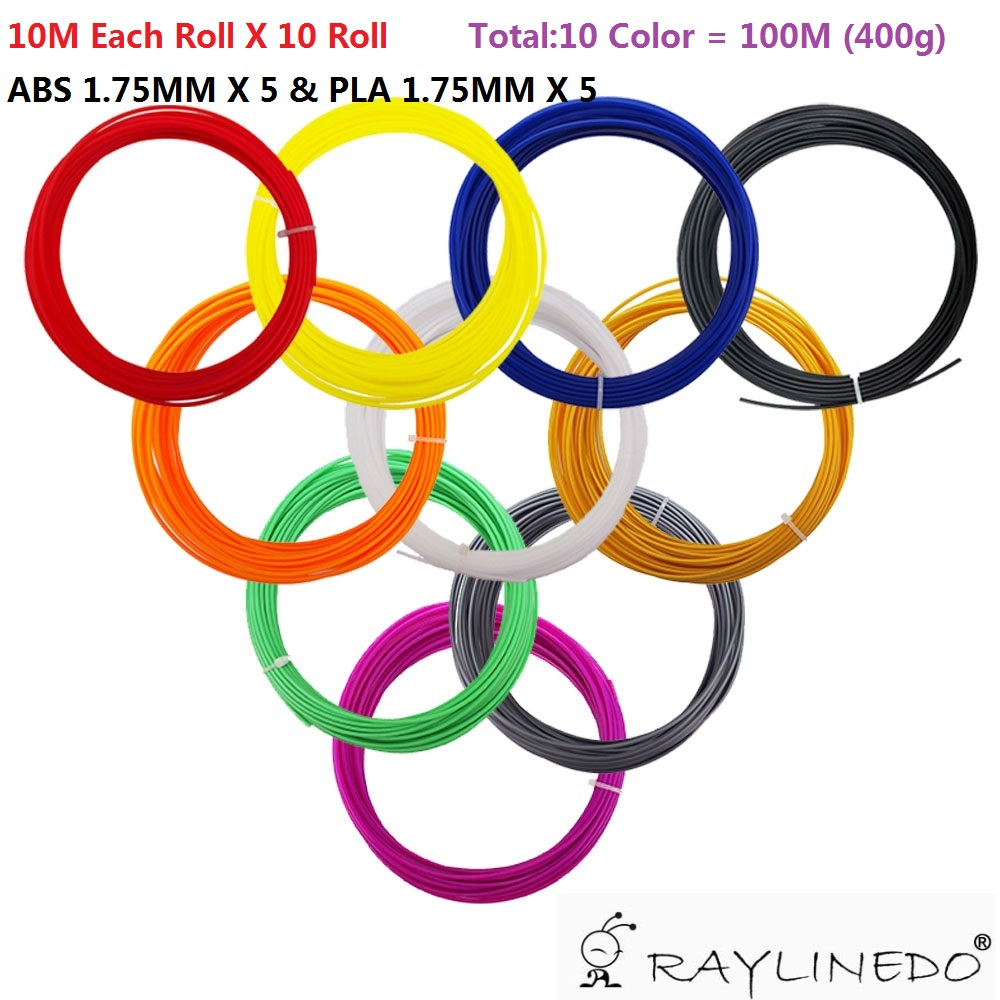 100M PLA & ABS 1.75mm Sample 3D Printer Filament 3D Printing Pen Materials Including 5X 10M ABS & 5X 10M PLA Random Color 3d printer filament 50m 5 colors 10m color abs pla 1 75mm 3d filament printing materials for 3d printing pen 3d printer