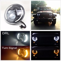 7 LED H4 H13 Round Shape Yellow White Headlights For Jeep Wrangler Lada 4x4