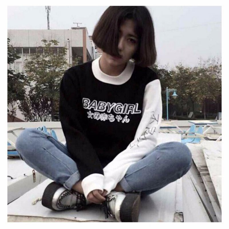 213a3fb71489 Women Hoodies Japanese Baby Girl Letter Print Harajuku Sweatshirt ...