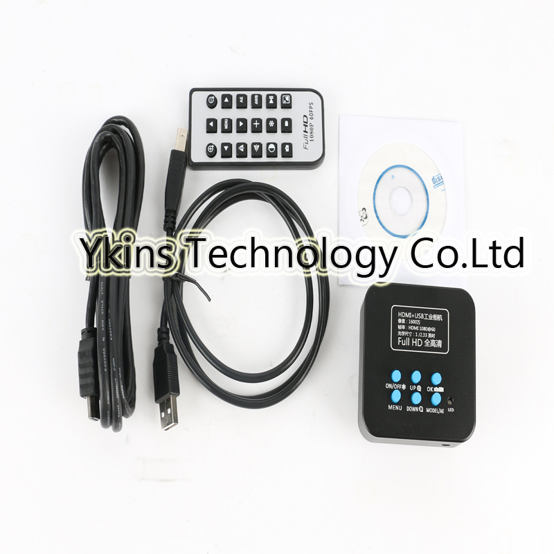 16MP Full HD 1080P 60/Fps HDMI USB TF card Output Industry Video Microscope Camera+IR Remote Control For Lab Industrial PCB