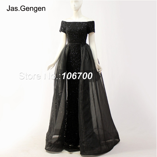 6f201997496 Detachable Tail Ballgown Formal Evening Dresses New Short Sleeves Off the  Shoulder Long Organza Black Glitter Fabric Prom Gowns
