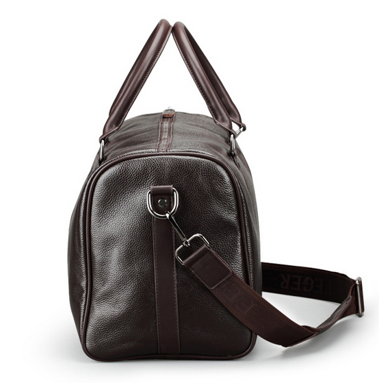 Fashion Brown Black Men Grained Leather Duffle Bag Travel Bags Cowhide Luggage Handbag44 26cm In From On