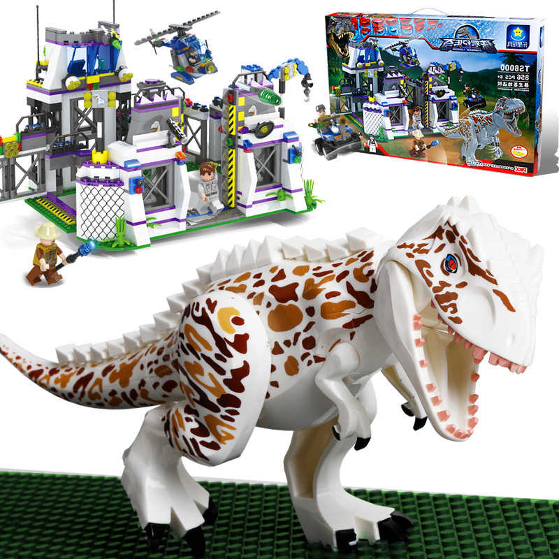 New Jurassic World Dinosaurs Ambush Lab Institute Fit Legoings Jurassic Dinosaur City Figures Building Block Bricks Diy Kid Gift