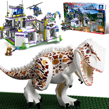 цена на New Jurassic World Dinosaurs Ambush Lab Institute Fit Lepining Jurassic Dinosaur City Figures Building Block Bricks Diy Kid Gift