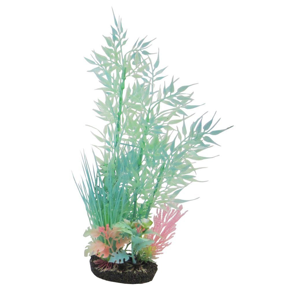 Artificial aquarium decoration large plastic green bamboo for Artificial fish pond plants