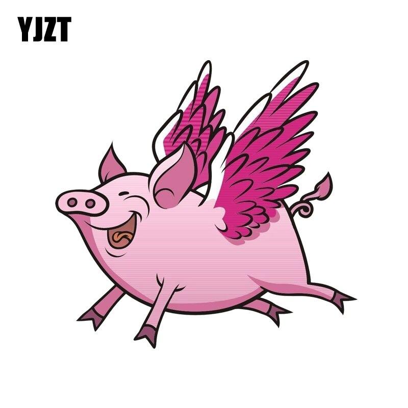 YJZT 14,8 см * 14 см милые животные Летающие Свиньи забавная Автомобильная наклейка из ПВХ наклейка 12-0537