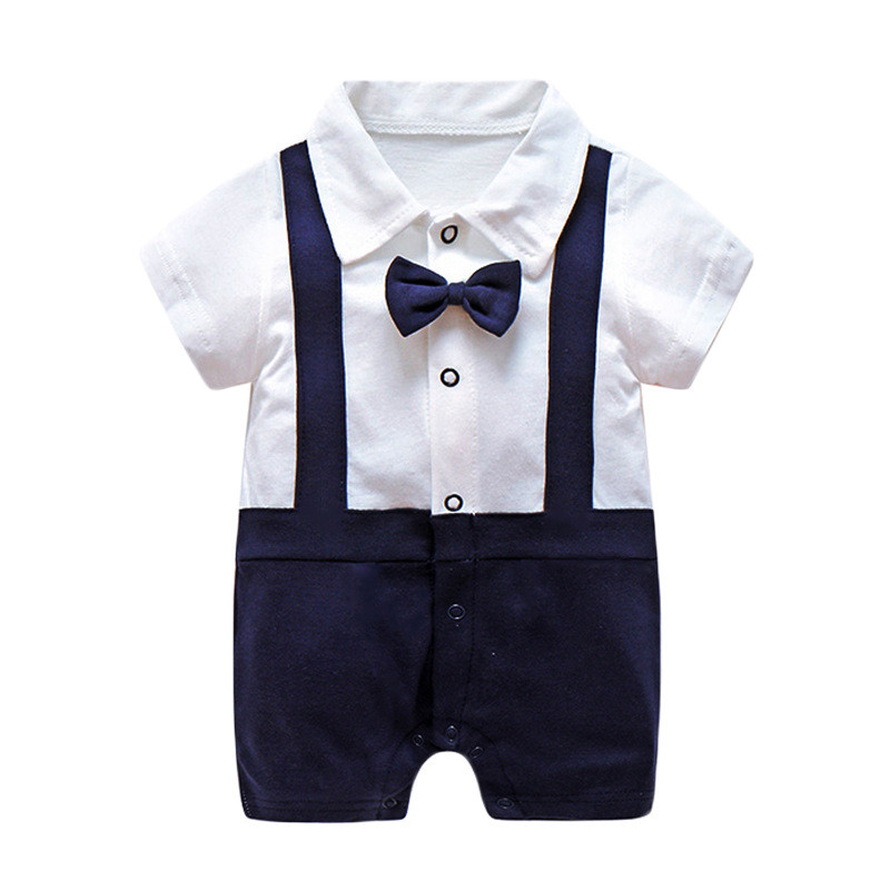 0 12 Month Infant Gentleman Clothes Boys Baby Thin Cotton Shorts Rompers Newborn Tie Short Jumpsuit Toddler Underwear Clothing in Rompers from Mother Kids