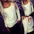 Snowshine #1501 Luva Longa Das Mulheres Cardigan Solto Camisola de Malha Sem Encosto Malhas Exteriores Brasão frete grátis