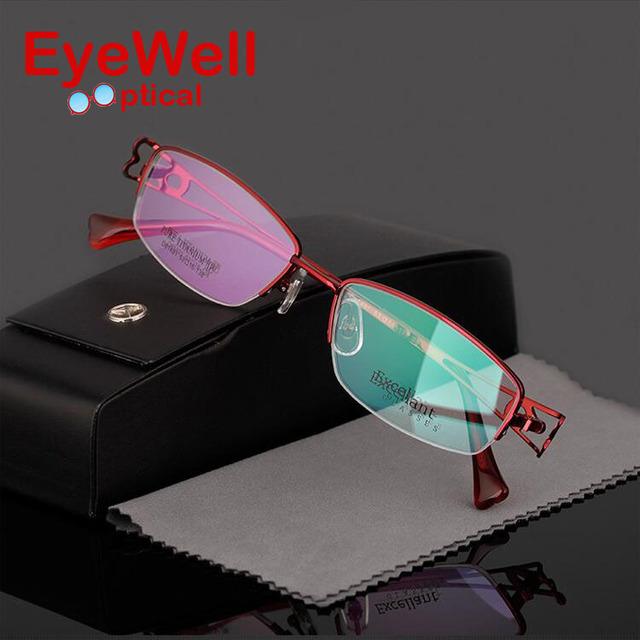 Mulheres titanium armação de óculos ultra-leve miopia armações de óculos frame ótico moda metade quadro d81491