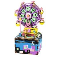 Robotime Music Box Happy Ferris Wheel Shape Colorable 3D Assembly DIY Steam Stem Toy