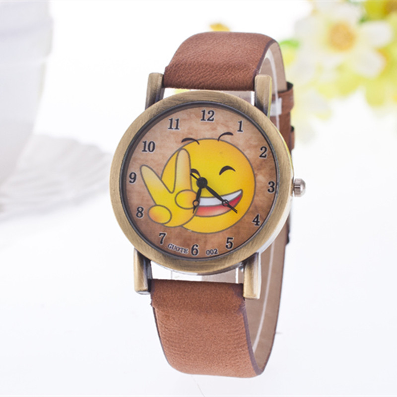 2017 Guote Fashion Kids Quartz Watch Casual Cute Cartoon Smile Leather Women Watches Student Children Analog Wristwatch Relojes free shipping cute cartoon chick children watch girl kids student fashion leather sport analog quartz wristwatches relojes k1600