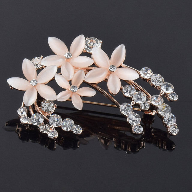 Crystals flower cameo brooches for women